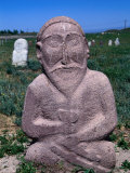 Ancient Stone Sculpture Near Burana Tower  Kyrgyzstan