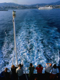 Passengers on Deck of Ferry Travelling from Sardinia to Genova  Sardinia  Italy