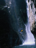 Man Canyoning in Waterfall  Nepal