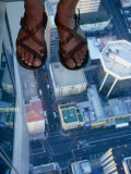 Streets and Buildings Seen from the Glass Floor at Skytower  Auckland  Auckland  New Zealand
