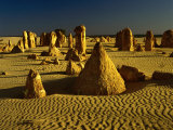 Rock Formations in the Sand of the Pinnacles Desert  Nambung National Park  Western Australia