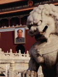 Imperial Lion Statue and Portrait of Mao at Tiananmen Square  Beijing  China
