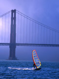 Sailboarder and Golden Gate Bridge  San Francisco  California  USA