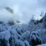 Winter Covers El Capitan and Bridal Vale Falls  Yosemite National Park  California  USA