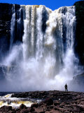 Person Standing in Front of Aponguao Falls (Chinak Meru)  Gran Sabana  Venezuela