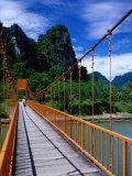 Footbridge Over Nam Sot River  Vang Vieng  Laos