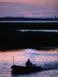 Fisherman in Boat Heading Back to Dock Near Tisza Lake (Tisza To)  Tiszafured  Hungary