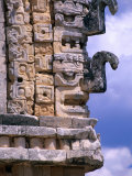 Chac Masks Carved in Stone on Exterior Walls of Temple in the Nunnery Quadrangle  Uxmal  Mexico