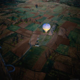 Aerial View of Hot Air Balloon Over Fields  Cappadocia  Turkey