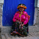 Portrait of Local Woman in Colourful Clothes  Pisac  Peru