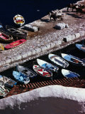 Overhead of Fishing Boats Lined Up in Hydra Harbour  Hydra Town  Greece