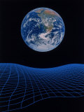 Earth Floating Above a Grid