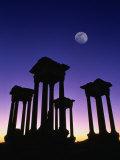 Pedestals of Tetrapylon and Moon at Sunset  Palmyra  Syria