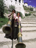 Girls Playing Horns  Potala Palace  Lhasa  Tibet