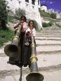 Girls Playing Horns  Potala Palace  Lhasa  Tibet