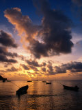 Small Fishing Boats in Water at Sunset  Charlotteville  Trinidad & Tobago