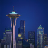 Space Needle and Seattle Skyline at Night