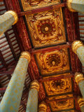 Blue Hexagonal Columns Supporting Ornate Ceiling  Ayuthaya Historical Park  Thailand
