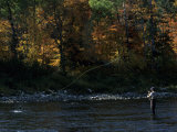 Fly-Fisherman Plays with an Atlantic Salmon on his Line