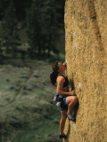 Young Woman Climbing Smith Rock  Oregon