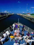 Overhead View of Boat Cruising Through the Gatun Lock  Panama Canal  Panama City  Panama