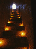 Narrow Staircase Lit with Candles Inside Dhamma-Yan-Gyi Temple