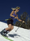 Skiing Downhill in Warm Weather Workout Gear