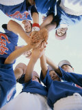 Low Angle View of a Little League Baseball Team in a Huddle