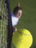 High Angle View of a Man Hitting a Tennis Ball