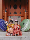 Girls Dressed in Kimono  Shichi-Go-San Festival (Festival for Three  Five  Seven Year Old Children)