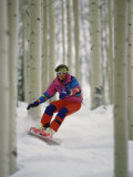 Snowboarder Maneuvering Through Trees