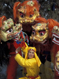 Lion Dance Celebrating Chinese New Year  Beijing  China