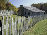 Fence and Cabin  Hensley Settlement  Cumberland Gap National Historical Park  Kentucky  USA
