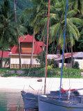 Colorful Sailboats at Harbor  Seychelles