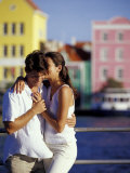 Couple at the Willemstad Waterfront  Curacao  Caribbean