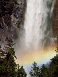 Bridalveil Falls Thunders into a Pool  Yosemite National Park  California  USA