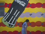 Local Woman Walks Past an Advertisement  Oaxaca  Mexico