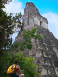 Western Traveler with Temple I  Tikal Ruins  Guatemala