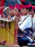 Boys' Gamelan Orchestra and Barong Dancers  Bali  Indonesia