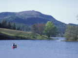 Canoeing on Little Long Pond  Parkman Mountain Spring  Maine  USA