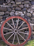 Rural Stone Wall and Wheel  Kilmuir  Isle of Skye  Scotland