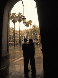 Couple in Plaza Real Gothic Square  Barcelona  Spain