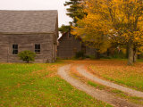 Wooden Barn and House in Rural New England  Maine  USA