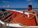 Fisherman Tends His Boat on the Beach  Isla Margarita  Venezuela