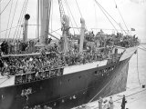 Basque Refugee Children from Bilbao Crowd the Deck of the Barcelona Liner Habana