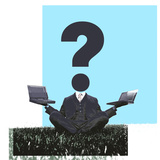 Businessman Sitting on Grass with Laptops and a Question Mark On