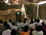 Sudanese Refugees Watch a World Cup Soccer Mach at the Zamzam Refugee Camp