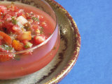 Dish with Salsa on Blue Background