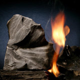 Oil Shale Rock Burns on its Own Once Lit with a Blow Torch