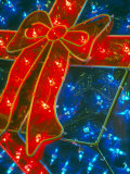 Gift Box Decoration Made of Christmas Lights  Washington  USA